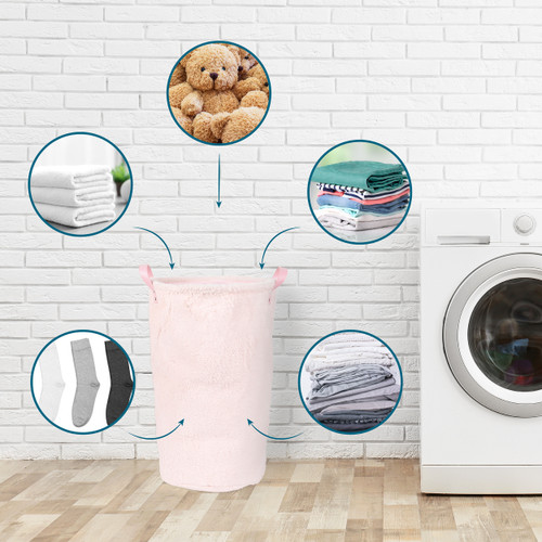 Beldray® Faux Fur Hamper for Towels, Clothes or Toys | Pink