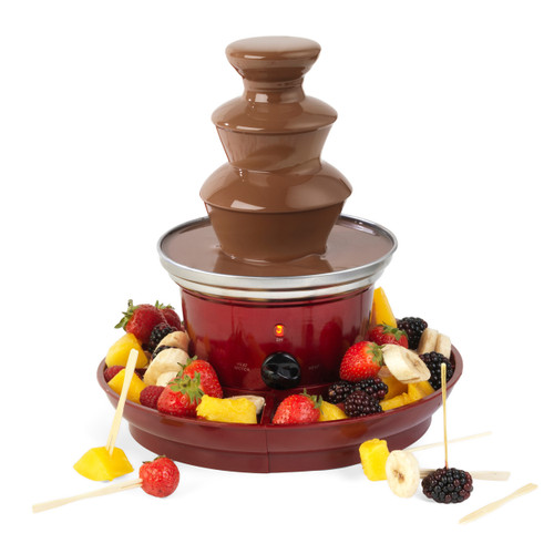 Giles & Posner® Chocolate Fountain with Fruit Tray & 100 Bamboo Skewers