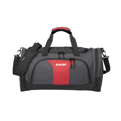 Hi Tec Holdall Sports Duffel Bag, Ideal for Gym or Travel 38L   Grey/Red