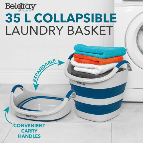 Beldray Square Shaped Collapsible Laundry Basket with Rubber Grip Handles