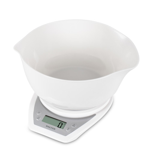Salter Digital Kitchen Scales with Dual Pour Mixing Bowl - White