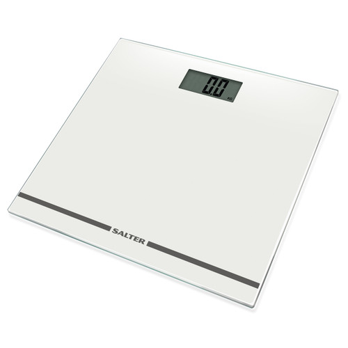 Salter Large Display Glass Electronic Bathroom Scale - White