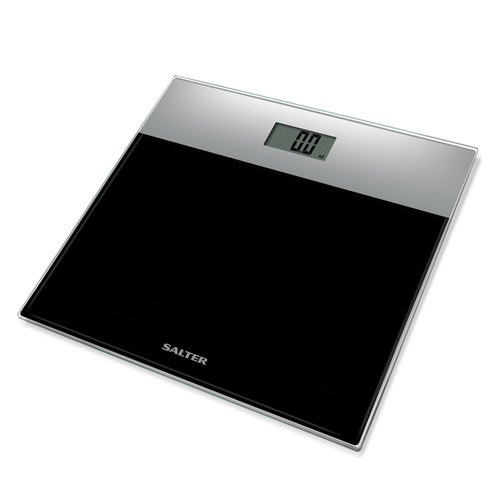 Salter Glass Electronic Bathroom Scale – Silver and Black