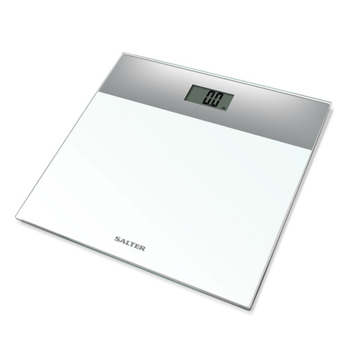 Salter Compact Glass Digital Bathroom Scale, White and Silver