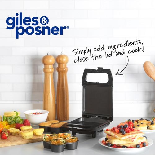 Giles & Posner® Compact Mini 2 In 1 Egg Bite Maker, Non-Stick   Black