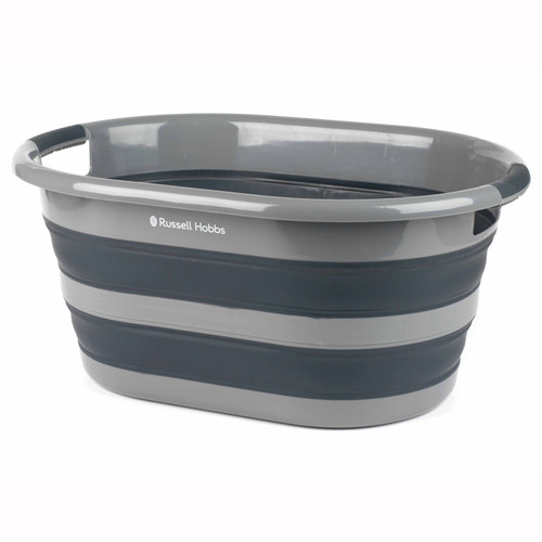 Russell Hobbs Collapsible Plastic Oval Laundry Basket, 27 L | Black