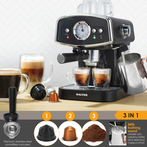 Salter 3 In 1 Barista Deluxe with Milk Frothing Wand, 19-Bar Pressure Pump