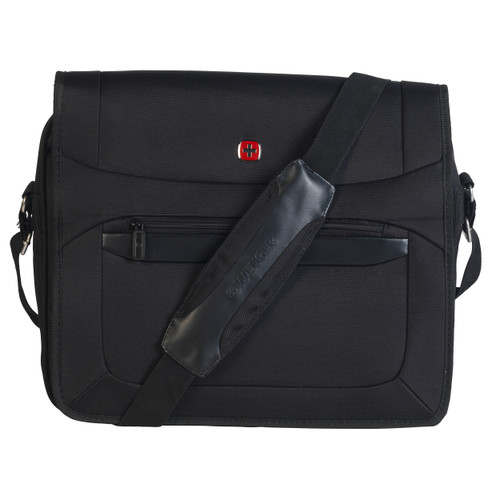 Wenger Business Messenger Bag, 16 Inches, Padded Laptop Tablet Computer Pocket, Suitcase Handle Slot, With Extra Pockets, Black