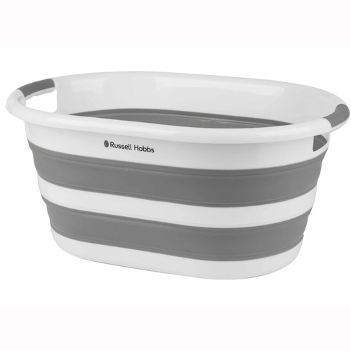 Russell Hobbs Collapsible Plastic Oval Laundry Basket, 27 L | White