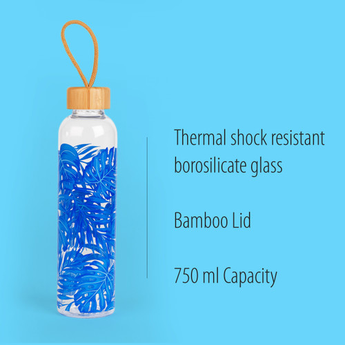 Cambridge Rainforest Glass Water Bottle with Bamboo Lid & Carry Handle, 750 ml