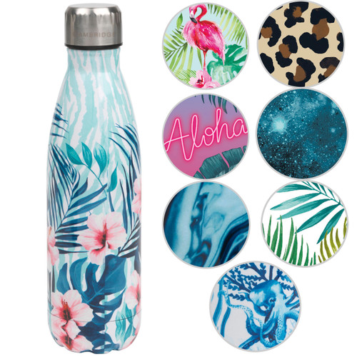 Cambridge Tropical Hibiscus Print Thermal Insulated Flask Bottle, 500 ml, Stainless Steel