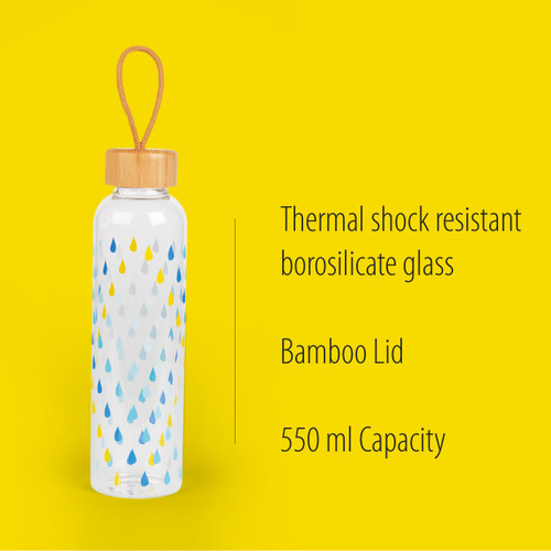 Cambridge Raindrops Glass Water Bottle with Bamboo Lid & Carry Handle