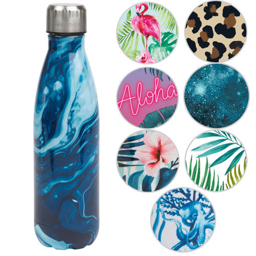 Cambridge Blue Marble Print Thermal Insulated Flask Bottle, 500 ml, Stainless Steel