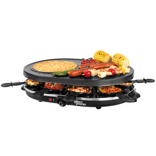 Giles & Posner® Electric Non-Stick Raclette Grill, Crepe Maker   Black