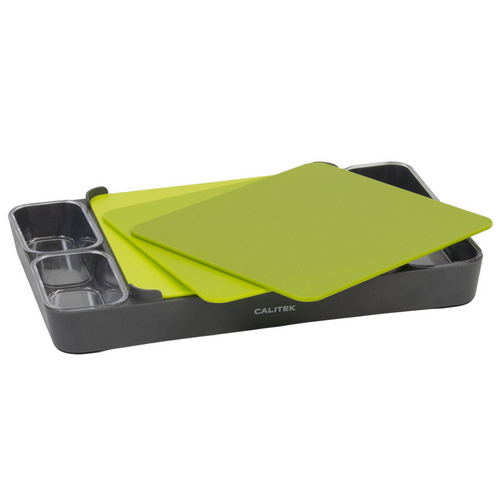 Calitek 3 Piece Knife Friendly Chopping Board Set with Container Bowls and Stand