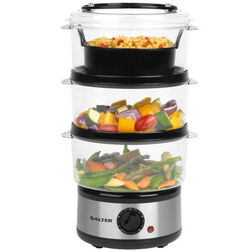 Salter EK2726 Healthy Cooking 3-Tier Food Rice Meat Vegetable Steamer, 7.5 Litre