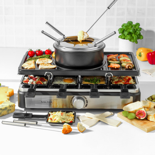 Salter® Electric 8-Piece Non-Stick Stone Raclette Grill and Fondue