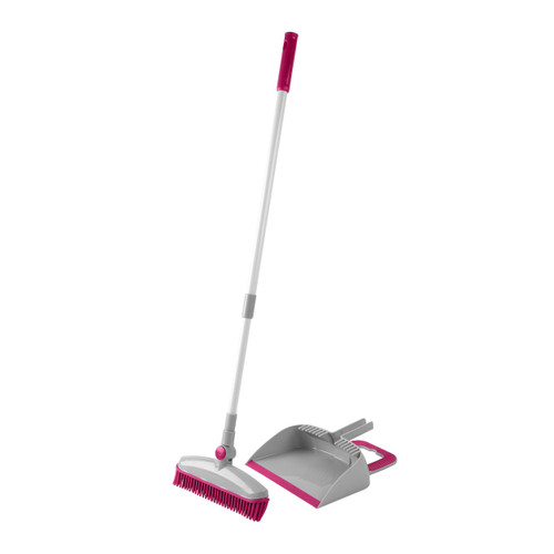 Kleeneze® Rubber Head Dustpan and Brush with Telescopic Handle