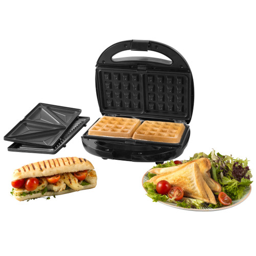Progress® 3 in 1 Snack Maker with Removable Non-Stick Cooking Plates  | Black
