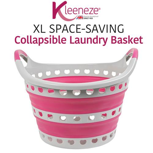 Kleeneze® Space Saving Collapsible Laundry Basket, 50 L | Grey/Pink