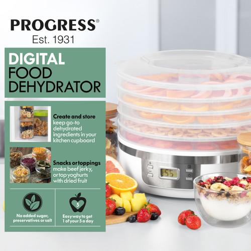 Progress® 5 Tier Digital Food Dehydrator Jerky Fruit Drying Machine   White