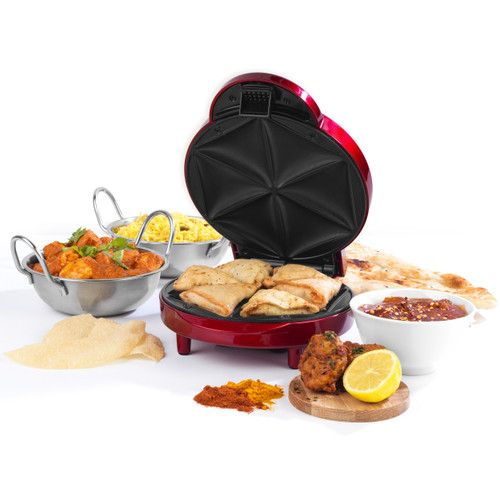 Giles & Posner ® Samosa Maker with Non-Stick Coated Cooking Plates | Red