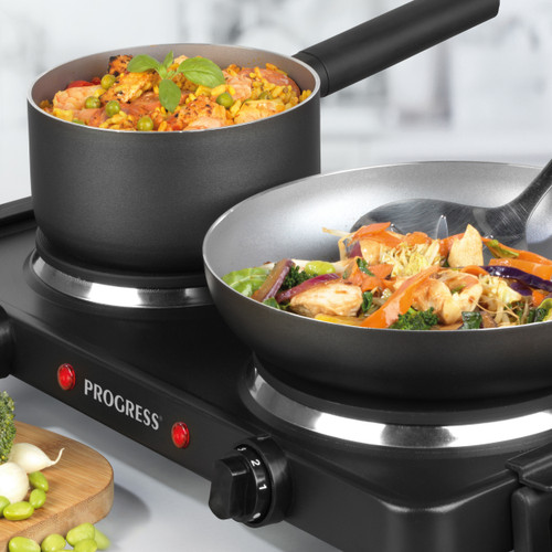 Progress® Twin Hot Plate with Dual Temperature Controls and Carry Handles | Black