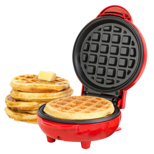 Giles & Posner® Compact Electric Non-Stick Mini Waffle Maker | Red