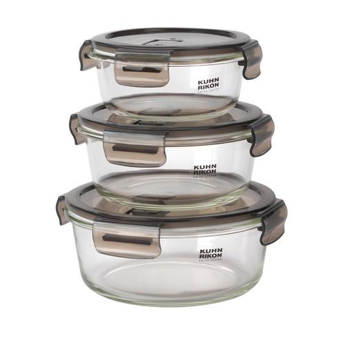 KUHN RIKON Round Airtight Food Storage Box Set   3 Piece   0.4/0.6/0.9 L
