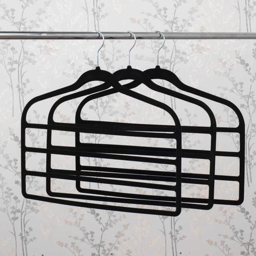 Beldray Pack of Three Velvet 4-Tier Trouser Hangers | Black