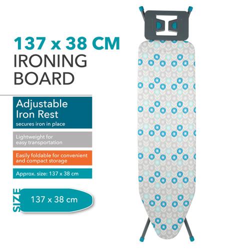 Beldray Retro Ironing Board, 137 x 38 cm | Blue Floral Print