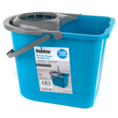 Beldray Large Mop Bucket with Mop Wringer, 14 Litre | Turquoise