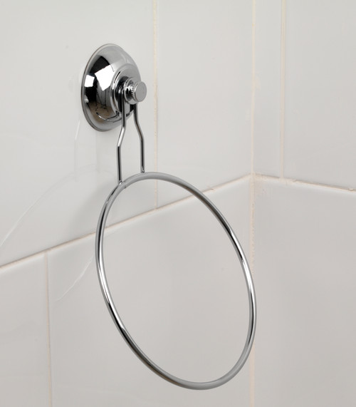 Beldray Chrome Plated Suction Towel Ring   Silver