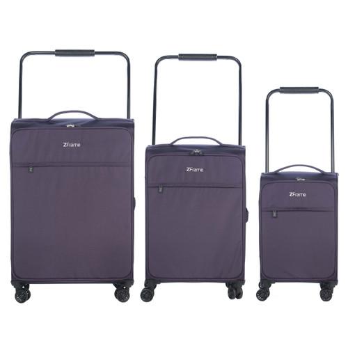 ZFrame Purple 4 Double Wheel Lightweight Suitcase 3 Piece Set, 18/22/26 inch