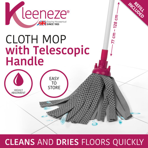 Kleeneze Cloth Mop With Extendable Telescopic Handle   White/Pink