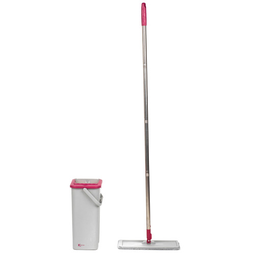 Kleeneze Slimline Flat Head Mop and Bucket Set | Pink/Grey