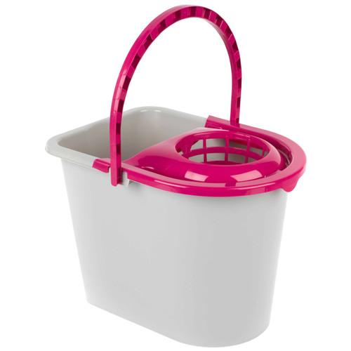 Kleeneze® Bucket With Mop Wringer & Carry Handle | 14 L | Pink/Grey