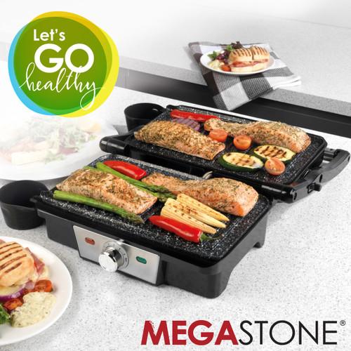 Salter Megastone Fold-Out Health Grill Panini Maker, Black