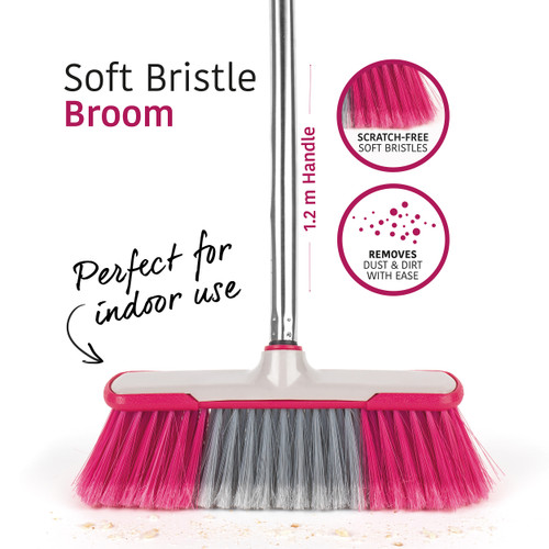 Kleeneze®1.2 m Soft-Bristle Broom   Stainless Steel   Grey/Pink