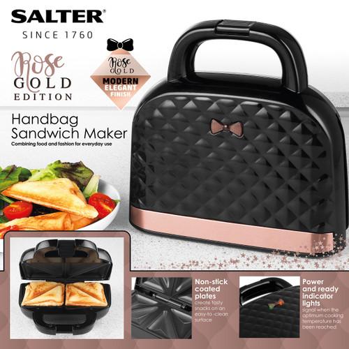 Salter Handbag Style Sandwich Toaster Non-Stick Toastie Maker |Rose Gold
