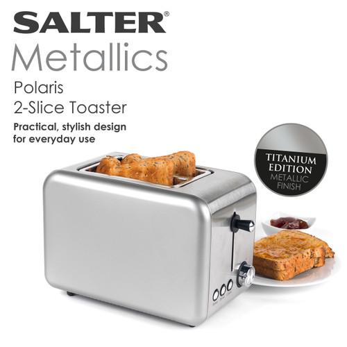 Salter Metallics Polaris 2-Slice Toaster, Titanium Edition