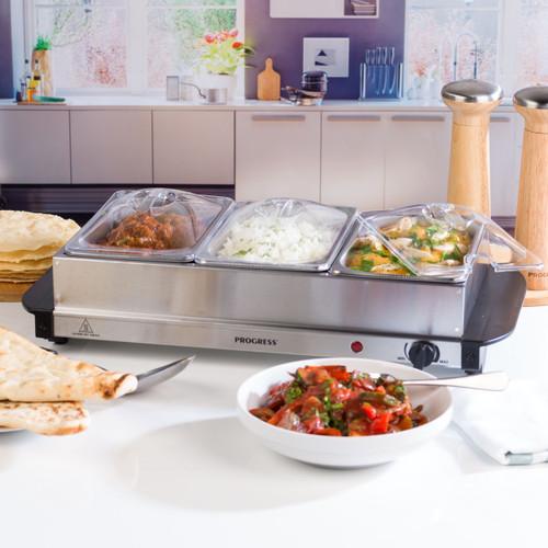 Progress® Portable Food Warmer Buffet Server, 3 x 1.5 L Pans