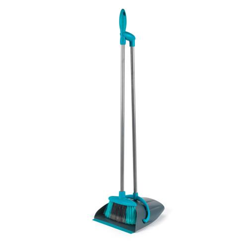 Beldray® Long Handled Dustpan & Brush/Broom  Grey/Turquoise