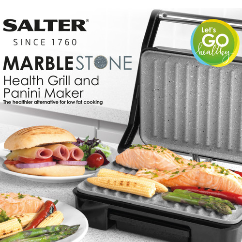 Salter Marble Collection Health Grill and Panini Maker Grey