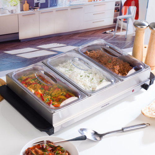 Progress® Large Buffet Server 3 x 2.5 Litre Pans | Stainless Steel