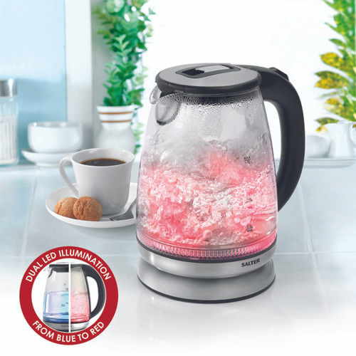 Salter Colour Changing Glass Kettle with LED Illumination, 1.7 L
