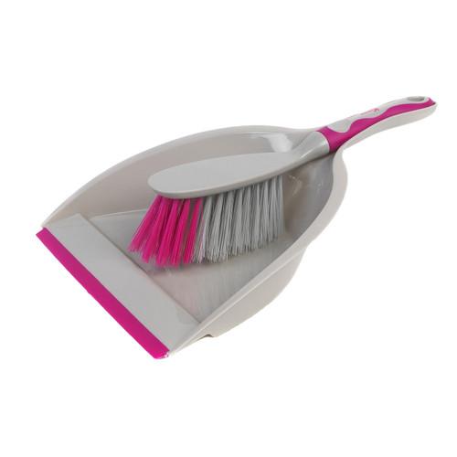 Kleeneze Deluxe Space Saving Dustpan and Brush Set  Grey/Pink