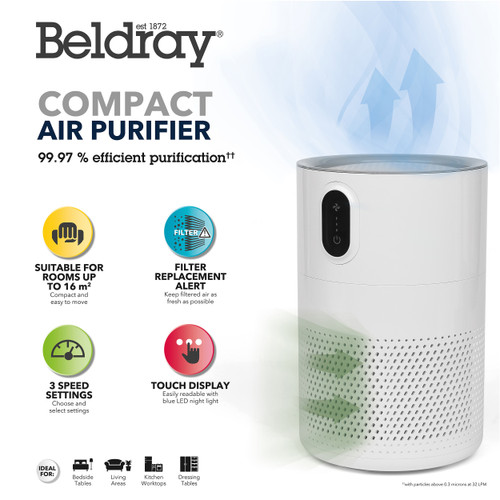 Beldray Compact Air Purifier, Ideal for Home and Bedrooms