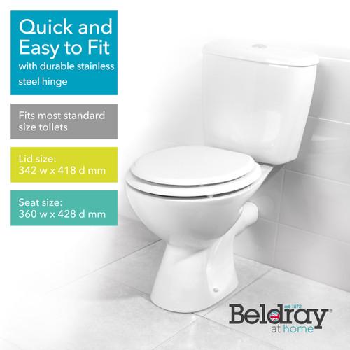 Beldray® MDF Toilet Seat, Wood, 18-Inch   White