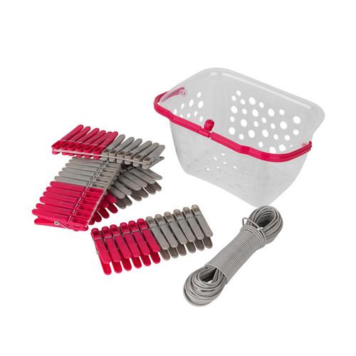 Kleeneze® 20 Metre Washing Line, Pegs & Storage Basket | Pink/Grey